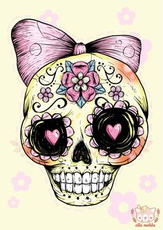 A4+Print+of+a+Yellow+Sugar+Skull+Illustration+by+ellamobbs+on+Etsy,+$20.00