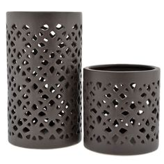 Deep grey, cutout ceramic, candle holder Gorgeous lattice detail provides beautiful illumination. Perfect in any space or event setting and especially beautiful outdoors! Would love to see this paired