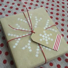 Dots Wrapping Paper made using a pencil eraser and ink!