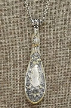 1908 Narcissus Pattern Silver Plate Flatware Pendant Necklace * Oxford #Flatware #SpoonSilverware