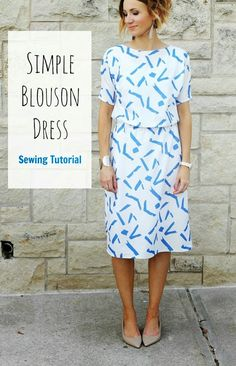 If you are looking to make a dress that is easy, quick, and pretty simple , then here is one. What an elegant dress. Download the free tutorial for Blouson Dress shared by One Little Momma. Sewing Dr