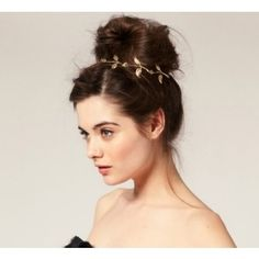 Gold Leaves Hairband | 47 Gorgeous Wedding HeadpieceIdeas  Not with that hair, but I could work with it