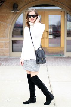 white sweater, grey skirt, over the knee boots / spring outfit
