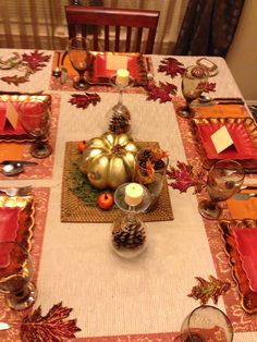 Thanksgiving table. Paper plates from hobby lobby. Wine glass candle holders with pine comes underneath. Thankful place cards-) & Thanksgiving table setting. Made paper plates and plastic silverware ...