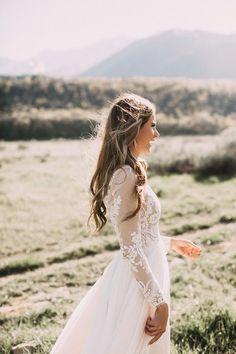 Beautiful lace long sleeve wedding dress