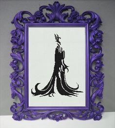 Disney Maleficent Counted Cross Stitch Pattern - Regal Silhouette - Sleeping Beauty Cross Stitch Pattern - Aida Cloth