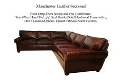 Manchester Leather Sectional by Casco Bay Furniture - A Premier Leather Furniture Sectional superbly made by skilled craftsman by one of North Carolina's foremost high end specialty leather manufacturers. This set features: True Eight-way hand-tied spring suspension (Built to Last a Lifetime!), free Down Blend Seat Cushions and Back Cushions, 100% Kiln-dried, double-doweled, corner blocked, hardwood frames for maximum durability. Custom options available! #CascoBayFurniture #leathersofa Leather Furniture, Leather Sofa, Leather Sectionals, Casco Bay, Seat Cushions, Living Room Furniture, Manchester, Farmhouse Decor, Interior Decorating