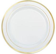 White Gold Premium Tableware - Party City  sc 1 st  Pinterest & Colorful Border Premium Tableware - Gold Trim Premium Plastic Plates ...