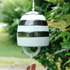 White and Black Striped Japanese Fuurin Wind Chime with Beautiful Hand Painted Paper Tanzaku