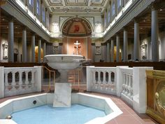 Nashville, TN Cathedral of the Incarnation ~ font and nave