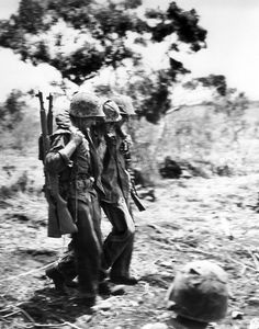 Carrying the wounded, Okinawa 1945