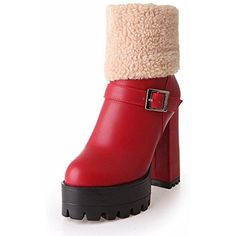 Women's Fashion Faux Fur Buckle Warm Cold Weather Zipper Platform High Heel Short Boots >>> Check this awesome product by going to the link at the image. (This is an affiliate link) #AnkleBootie