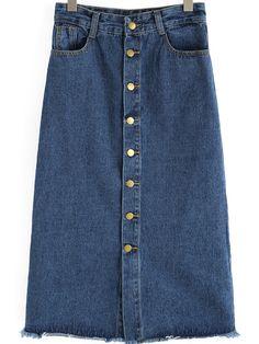 Buttons Pockets Denim Skirt