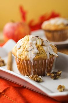 Apple Streusel Cupcakes with a sweet and crunchy topping of brown sugar and almonds, drizzled with a powdered sugar glaze