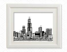 Plus Printed palette City Skyline Art, Chicago Skyline, Chicago Art, Chicago Illinois, Printmaking, Art Prints, Black And White, Visual Arts, Cities