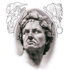 Caesar Black and Grey Airbrush Artwork Gray Tattoo, Tattoo Ink, Drawing Art, Art Drawings, Praying Hands, Buddha Art, Outlines, Black And Grey Tattoos, Airbrush