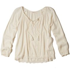 Hollister Lace-Up Peasant Top (145 RON) ❤ liked on Polyvore featuring tops, blouses, cream, pleated blouse, pink top, lace up front top, pink peasant top and laced tops