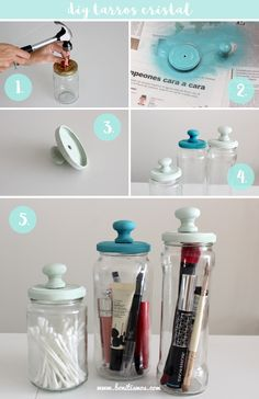 32 Creative Mason Jar Organizer Ideas To Make In A Charming Way .- 32 creative mason jar organizer ideas to save space in a charming way - Mason Jars, Pot Mason, Apothecary Jars, Bottles And Jars, Mason Jar Crafts, Bottle Crafts, Glass Jars, Mason Jar Bathroom, Diy Home Decor Projects