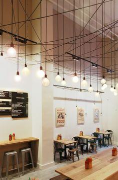 Branding and interior design for Bun Mee, a gourmet Vietnamese sandwich shop in San Francisco. Art Restaurant, Restaurant Branding, Restaurant Tables, Restaurant Design, Cafe Interior Design, Cafe Design, Store Design, San Francisco Design, Noodle Bar