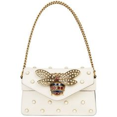 Gucci Broadway Ivory Embellished Leather Clutch (€2.220) ❤ liked on Polyvore featuring bags, handbags, clutches, white clutches, gucci, white leather handbags, studded handbags and white handbag