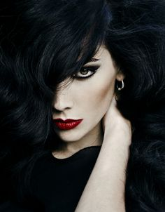 black hair + red lips.                                                                                                                                                                                 More
