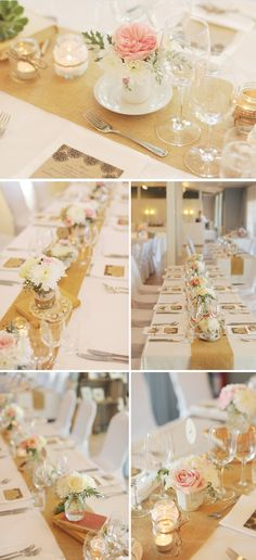 tables were lined with burlap table runners topped with vintage books, votive jars + loads of floral arrangements in jars and vintage tea and coffee cup