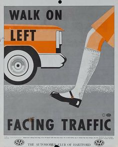 DP Vintage Posters - Walk on Left Facing Traffic, Original AAA Auto Safety Poster, The Automobile Club of Hartford