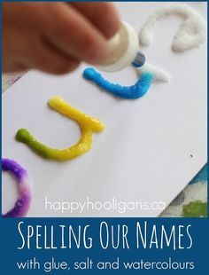 Salt, glue and watercolour art.  A name recognition activity (happy hooligans)