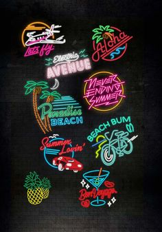 Tropical neon The post Tropical neon appeared first on Hintergrundbilder. Logo Design, Neon Aesthetic, Grafik Design, Neon Lighting, Illustrator, Clipart, Logos, Creative, Iphone Wallpaper