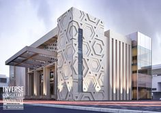 A Spectacular And Unique Building Inspired By Hexagon Design. Designed by Inverse Architecture Firm # Mosque Architecture, Architecture Details, Modern Architecture, Cladding Design, Facade Design, House Front Design, Modern House Design, Building Facade, Building Design