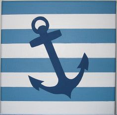 Painting  Blue Seaside Anchor Acrylic Hand by PetasPaintShop