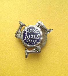 VERY RARE VINTAGE REX ACME MOTORCYCLE ENAMEL BADGE, BUTTON HOLE FIXING