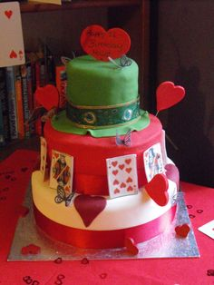 Alice in Wonderland Birthday cake for daughters 11th Birthday, novice cake maker but got there in the end