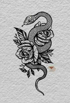 Dream Tattoos, Mini Tattoos, Body Art Tattoos, Sleeve Tattoos, Cool Tattoos, Female Tattoo Sleeve, Tatoos, Snake And Flowers Tattoo, Small Snake Tattoo