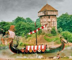 Another spectacular at the Puy du Fou historical theme park in Vendée, France. A full size Viking longship raids a peaceful French village!