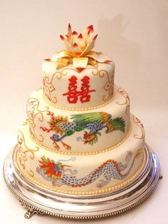 The dragon cake has long belonged to the Chinese culture and is a regular feature in Chinese or Asian themed weddings. Description from pinterest.com. I searched for this on bing.com/images