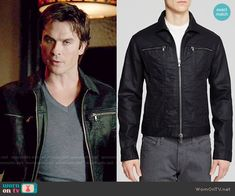 Damon's black jacket with zip pockets on The Vampire Diaries.  Outfit Details: https://wornontv.net/53643/ #TheVampireDiaries