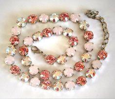 Swarovski crystal 8mm fancy stone tennis necklace,light rose ,crystalAB #Swarovski
