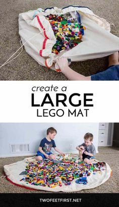 Lego Mat Tutorial, a place to store all the Lego& in your home? Here is how to create a large Lego mat. Sac Lego Diy, Lego Bag, Toy Storage Bags, Lego Storage, Kids Storage, Diy Projects For Kids, Diy For Kids, Sewing Projects, Classroom Projects