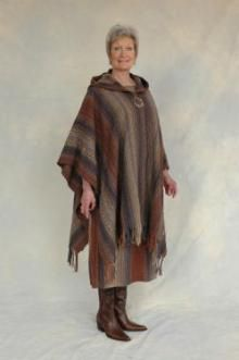 @Mikayla Syme Fringed cape open in front with hood