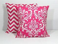 Hot PINK Pillows Decorative Pillows TRIO chevron by beckorama, $42.00
