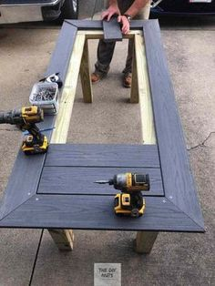 DIY Outdoor Table: What to do with leftover composite decking? - The DIY Nuts - DIY Outdoor Table: What to do with leftover composite decking? – The DIY Nuts DIY Outdoor Table: What to do with leftover composite decking? – The DIY Nuts Easy Woodworking Projects, Woodworking Furniture, Diy Wood Projects, Outdoor Projects, Woodworking Plans, Wood Crafts, Woodworking Techniques, Woodworking Beginner, Woodworking Logo