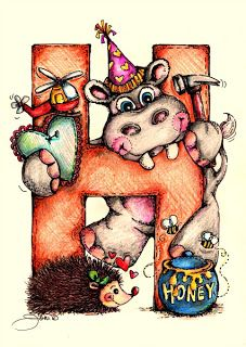 Pop Art Minis: Letter H Is For Happy Hippos, Honey Bees and Hedgehogs!
