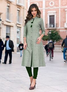 Green Heavy Cotton Regular Wear Plain Kurti Plain Kurti Designs, Simple Kurti Designs, Kurta Designs Women, Blouse Designs, Ladies Suits Indian, Suits For Women, Clothes For Women, Indian Dresses, Indian Outfits