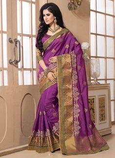 Magenta Tussar Silk Saree