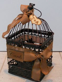 Love this Rustic Birdcage I with yellow bows Wedding/Card Holder/Initial Charm by YesMoreFunk, $43.00