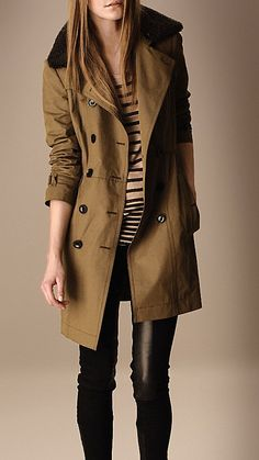 Mid-Length Detachable Shearling Collar Trench Coat - Burberry