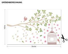 Wandsticker Frühlingszweig mit Vogelkäfig Wandtattoos Florales Bäume & Äste