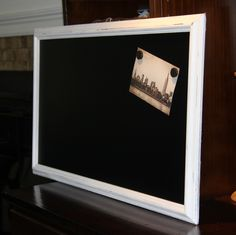 Large, Long, Narrow, White, Distressed, Framed Magnetic Chalkboard (16 1/2 x 28 inches) Wedding/Home/Restaurant by PoshPilfer on Etsy