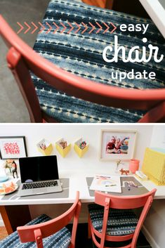Simple DIY Chair Update >> http://blog.hgtv.com/design/2015/05/13/all-you-need-is-fabric-and-spray-paint-for-this-easy-chair-update/?soc=pinterest